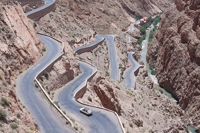 Aerial view of winding mountain road