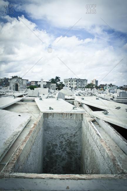 Empty tomb in Colon Cemetery, Havana, Cuba