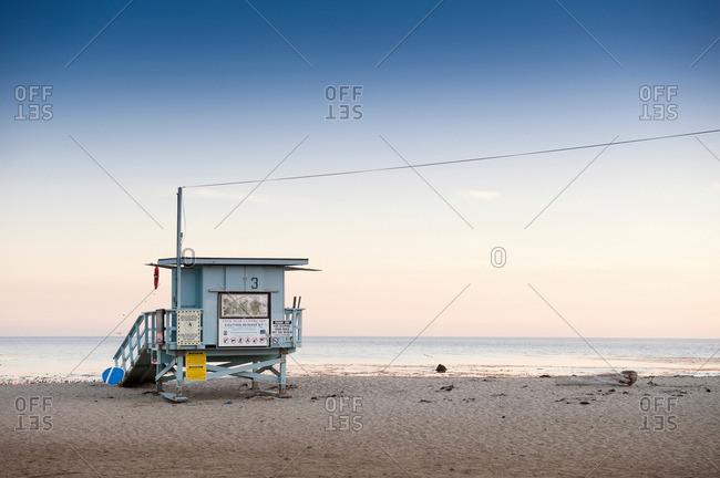 Lifeguard hut on Malibu beach, California, USA