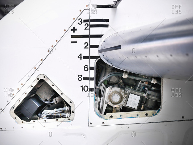 Detail view of tail mechanism of jet aircraft