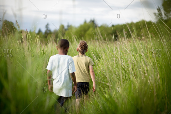 Two brothers walking through a field of tall grass
