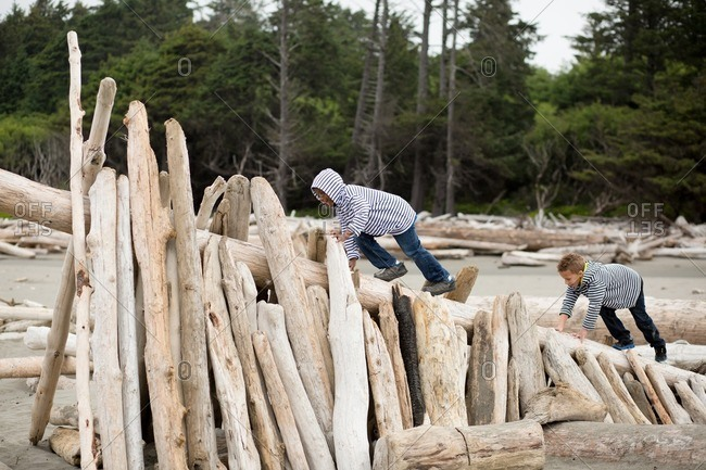 Brothers climbing on a driftwood shelter on a beach