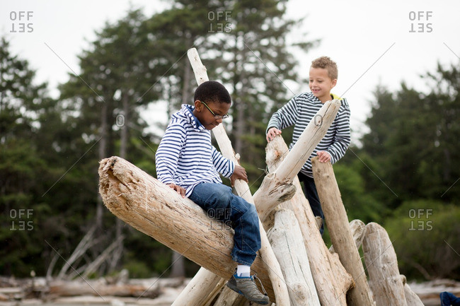 Two brothers playing on a driftwood shelter on a beach