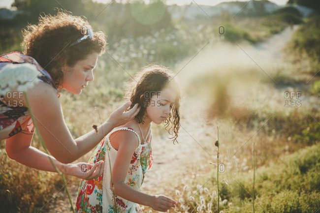 Mother and daughter collecting Daucus carota flowers