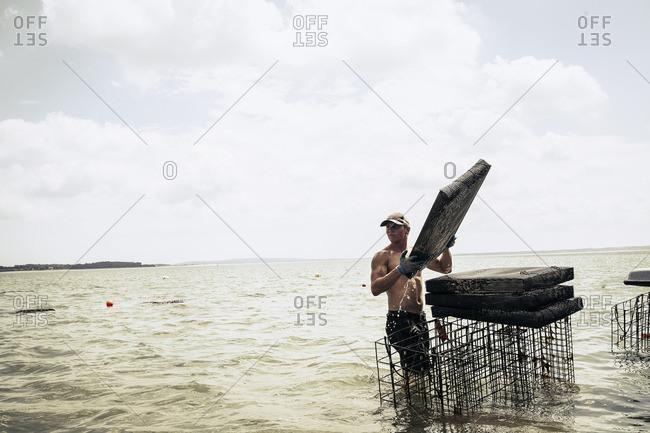 A man working on oyster farm