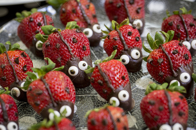 Strawberry treats in lady bug shape