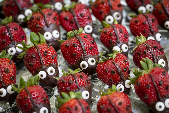 Strawberry desserts in lady bug shape