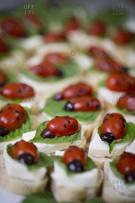 Ladybug shaped appetizers