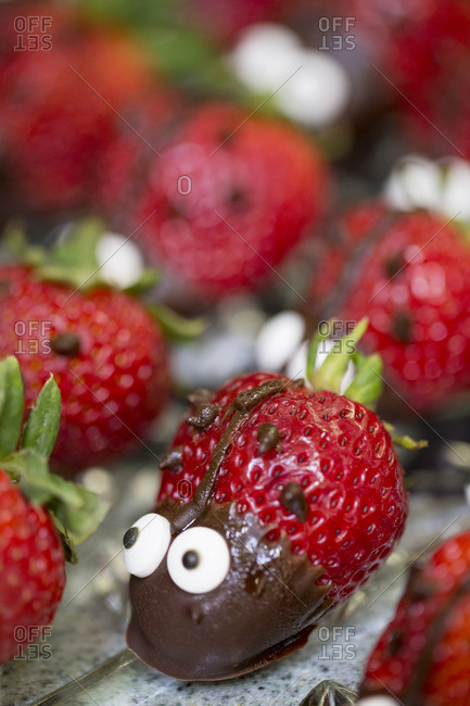 Ladybug shaped strawberry desserts