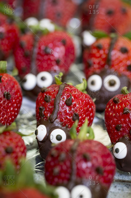 Ladybug shaped strawberry snacks