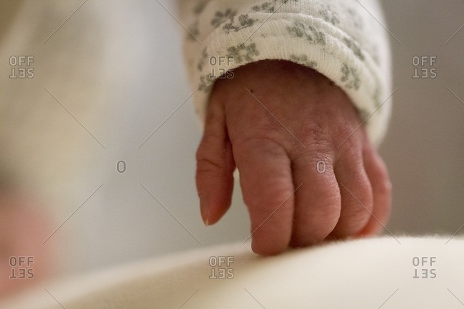 Newborn baby's hand in close up