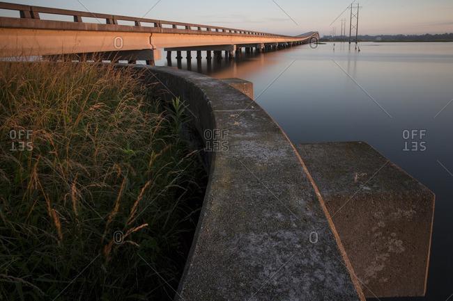 Sunrise over a bridge in North Carolina