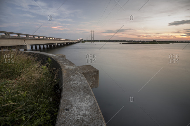 Bridge over still water, North Carolina