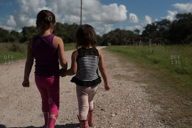 Girls on a rural path together