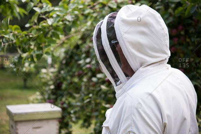 Portrait of smiling beekeeper