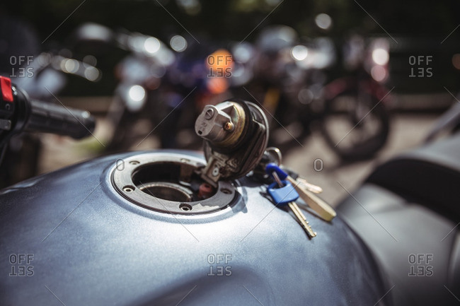 Fuel tank of motor bike with keys