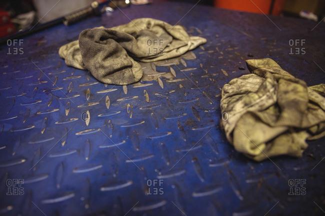 Rags at workshop