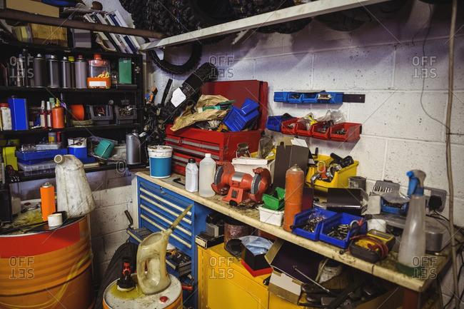 Various mechanic equipment on worktop