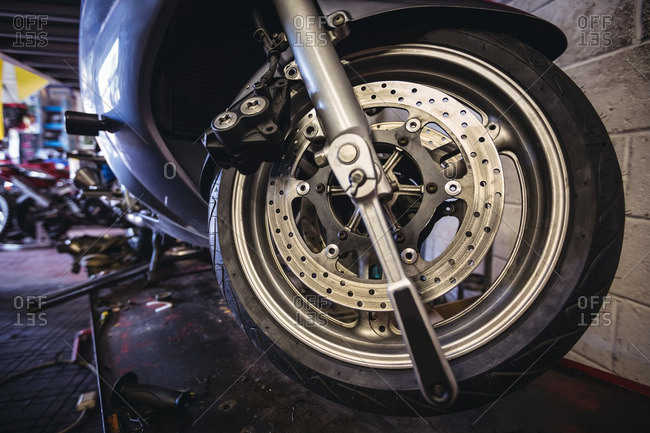 Close-up of motorcycle wheel