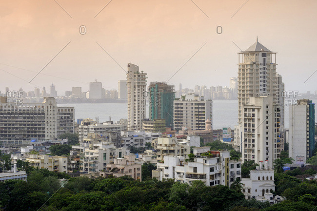 August 13, 2016: General view of the skyline of central Mumbai (Bombay), Maharashtra, India, Asia