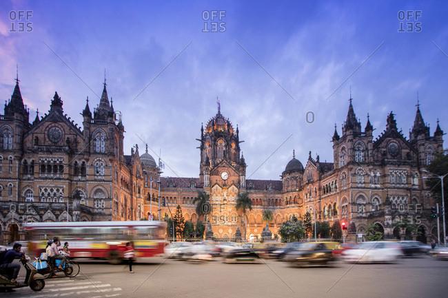 August 17, 2016: Chhatrapati Shivaji Terminus (Victoria Terminus), UNESCO World Heritage Site, historic railway station built by the British. Mumbai (Bombay), Maharashtra, India, Asia