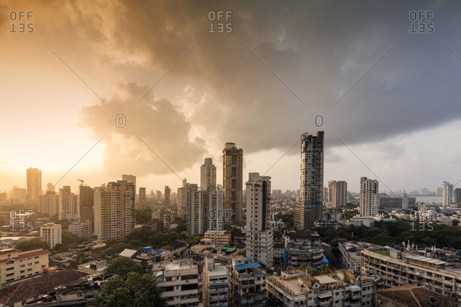August 19, 2016: General view of the skyline of central Mumbai (Bombay), Maharashtra, India, Asia