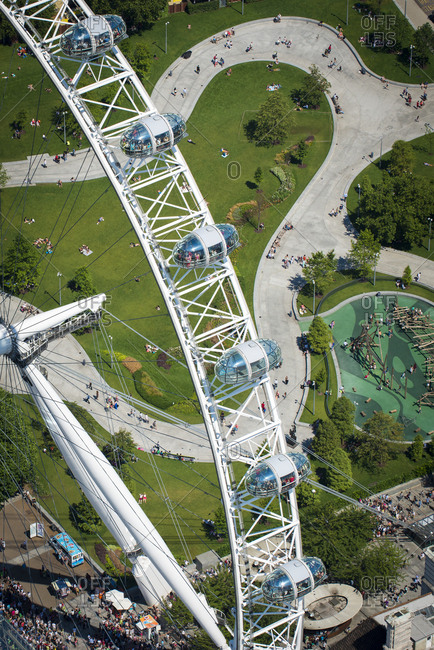 August 1, 2013: Aerial view of the London Eye, London, England, United Kingdom, Europe
