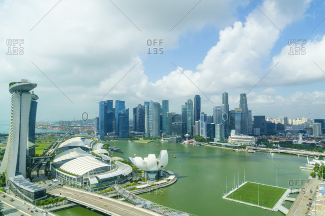 February 23, 2016: The towers of the Central Business District and Marina Bay in the morning, Singapore, Southeast Asia, Asia