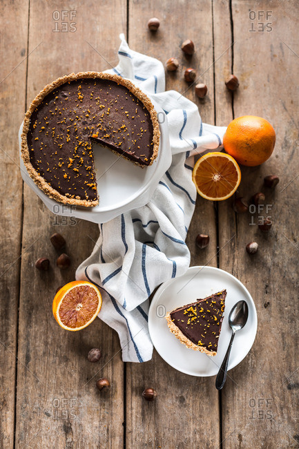 Overhead view of chocolate orange tart