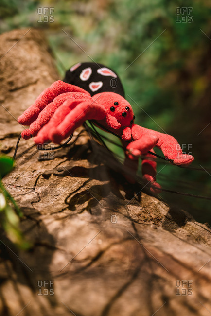 Stuffed toy spider sitting in a tree