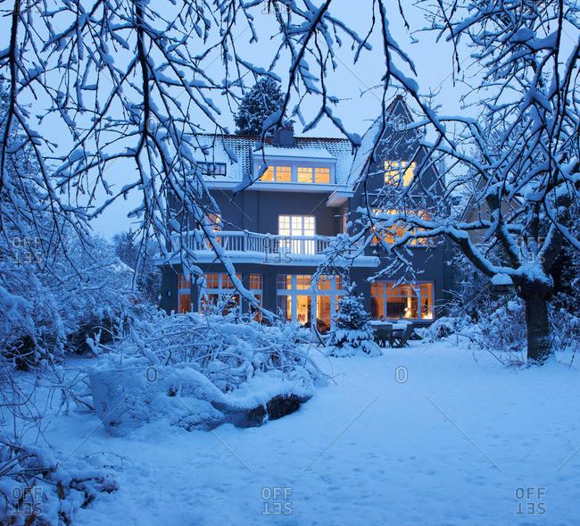Beautiful villa under the snow
