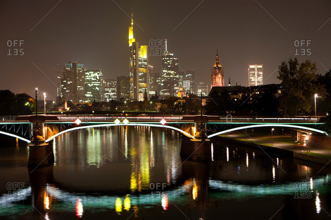 Frankfurt city skyline by night