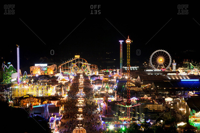 Overview of the Oktoberfest by night