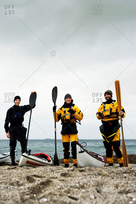 Portrait of 3 kayakers