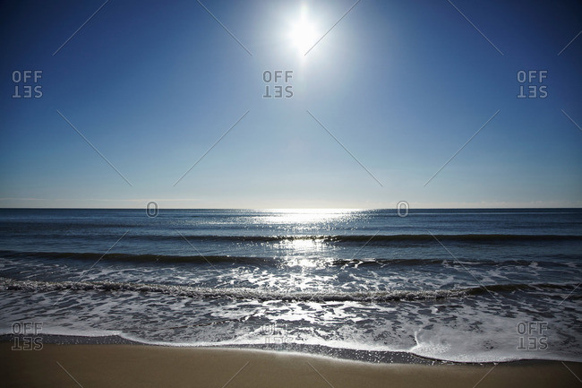 Sunny beach and sea landscape
