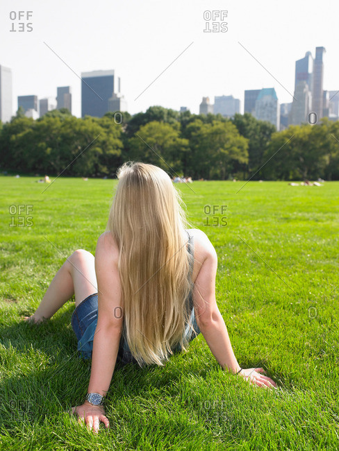 Woman in central park, enjoying the view