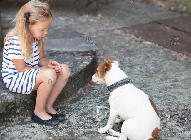 Girl feeding a dog