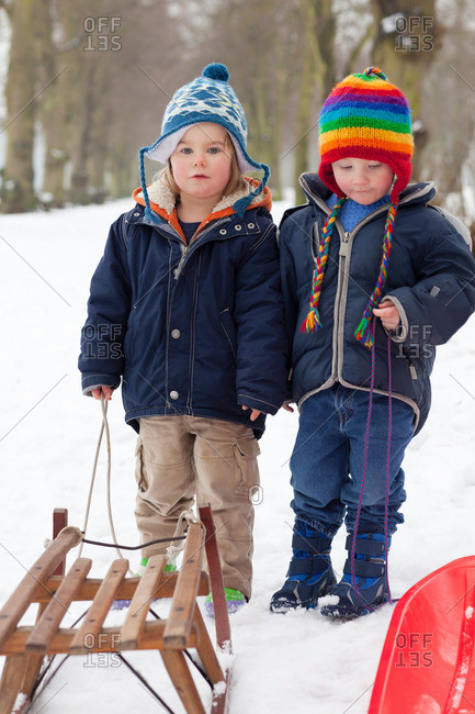 Two little boys in the snow