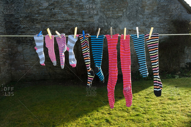colorful socks on washing line