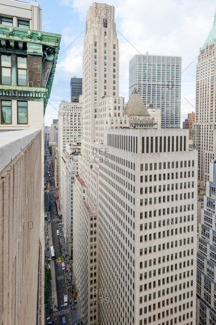 View between buildings in New York City's Financial District