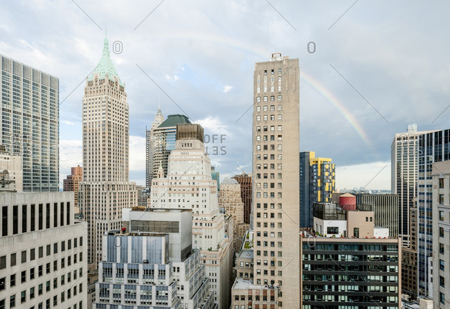Rainbow arches over New York City's Financial District