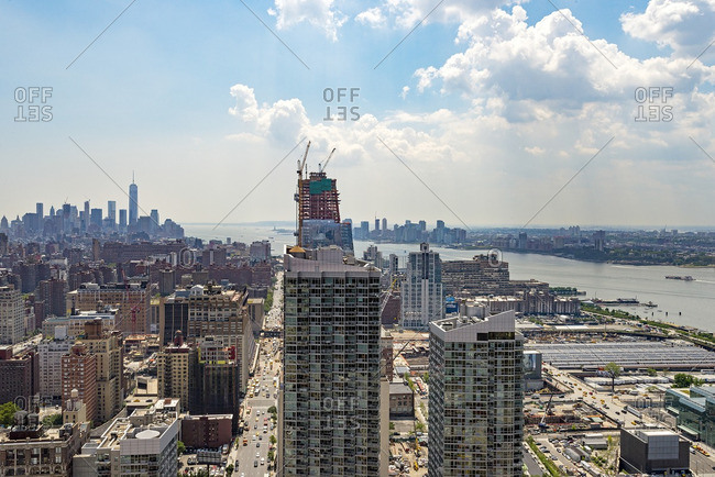 New York, NY - July 28, 2015: View of buildings along 10th Avenue and the Hudson River