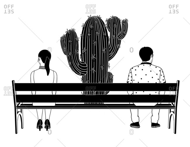 Cactus in between a couple on the bench