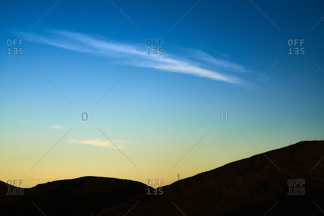 Silhouette of hills at sunrise