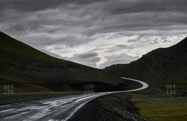 Two lane highway in the mountains of Iceland
