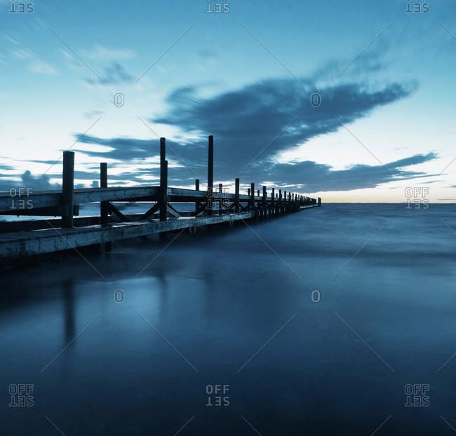 Wooden pier over ocean