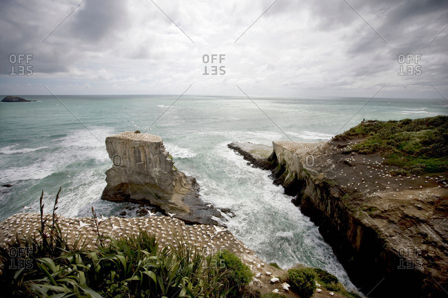 Craggy rocks jutting into ocean