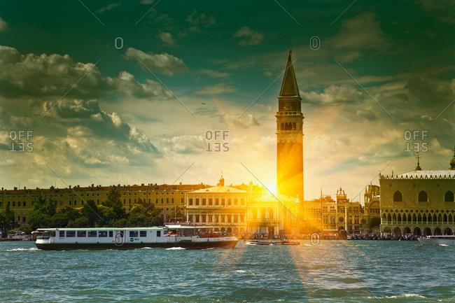 Sun shining through urban buildings