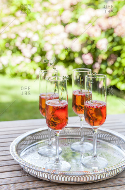 Four glasses of sparkling rose wine on silver tray in garden