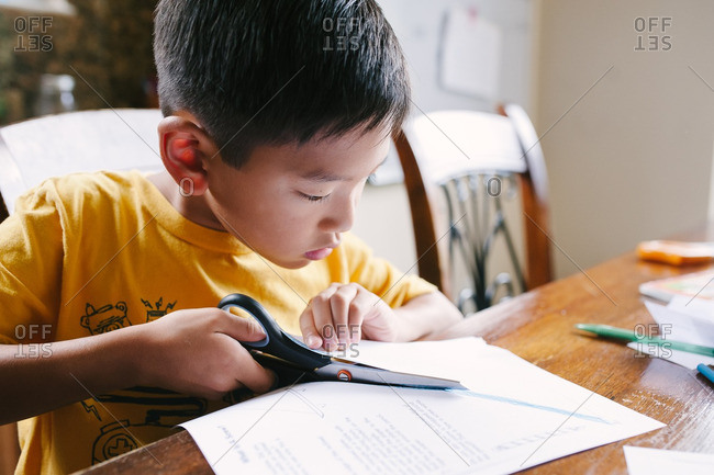 Boy cutting a piece of paper at table